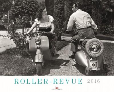 """Ein Dutzend alte Motorroller in einem Graustufen-Kalender –  Annotation zu """"Roller-Revue"""" 2016"""
